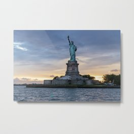 Statue of Liberty in New York at sunset Metal Print