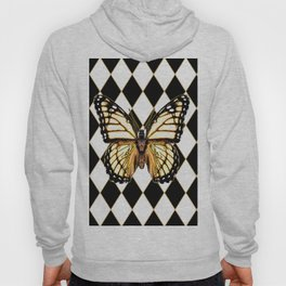 WHITE MONARCH BUTTERFLY & BLACK DIAMONDS Hoody