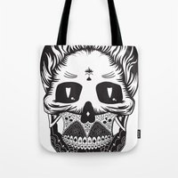 calavera Tote Bags featuring Calavera by Sofia Bolona