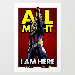 All Might Here Red Art Print