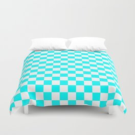 Small Checkered - White and Aqua Cyan Duvet Cover