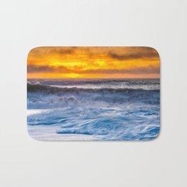 Waves Pound the Beach at Sunset Bath Mat