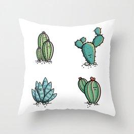 Kawaii Cute Desert Cacti Plants Throw Pillow