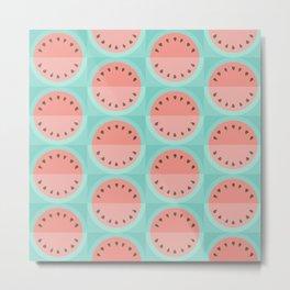 Geometric Watermelon: pink on turquoise Metal Print