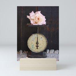 Blush Rose on a Vintage Scale Mini Art Print