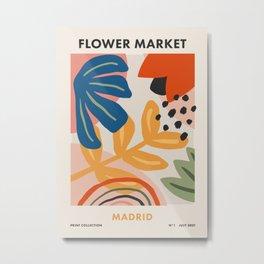 Flower Market Madrid, Abstract Retro Floral Print Metal Print