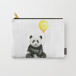 Panda Watercolor Animal with Yellow Balloon Nursery Baby Animals Carry-All Pouch