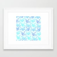 origami Framed Art Prints featuring Origami by StudioBlueRoom