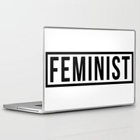 feminist Laptop & iPad Skins featuring Feminist White by jupiter