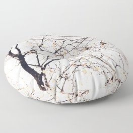 House Sparrows in Tree Branches Stylized Minimalist Nature Floor Pillow