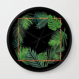 Tropical Copper Greenery Wall Clock