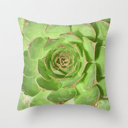 Cactus Green Succulent with Faux Gold Tips Throw Pillow