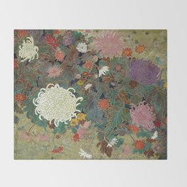 flower【Japanese painting】 Throw Blanket