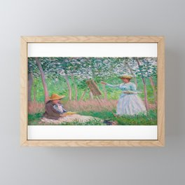 French Impressionist Portrait of a Woman Painting in a Garden Framed Mini Art Print