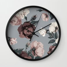 Floral, Romantic, Roses, Flowers, Wall Clock