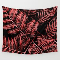 burgundy Wall Tapestries featuring Burgundy Bracken by Moonshine Paradise