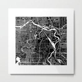 CALGARY MAP ART (BLACK) Metal Print