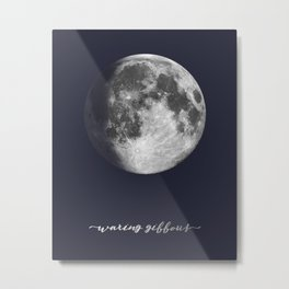 Waxing Gibbous Moon on Navy English Metal Print