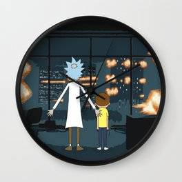 Morty and Rick Club Fight Wall Clock