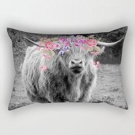 Floral Highland Cow Rectangular Pillow
