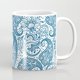 Blue ethnic ornate floral paisley pattern Coffee Mug