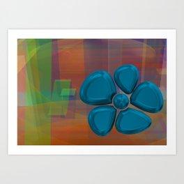 flower 5 blue Art Print