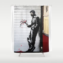 Banksy Man With Flowers Shower Curtain