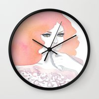 fashion illustration Wall Clocks featuring fashion illustration by Yulia Puchko