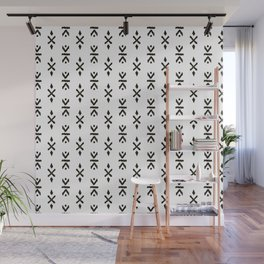 Black and white indian boho summer ethnic arrows Wall Mural