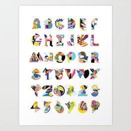 AMP Noise collage alphabet (white poster) Art Print