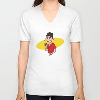 seinfeld V-neck T-shirts featuring kramer from seinfeld by Nick Dauphin
