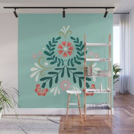 Floral Folk Pattern Wall Mural