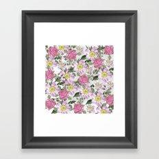 Vintage Rose Pattern Pink and White Framed Art Print