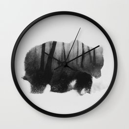 Watched by Grizzly Bear (black & white version) Wall Clock