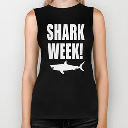 Shark Week, white text on black Biker Tank