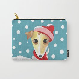 frozen jack russell with red scarf and red hat Carry-All Pouch