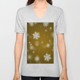 Winter Snowflakes on Christmas Gold Unisex V-Neck