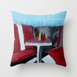 American Diner Impressionist Acrylic Fine Art Throw Pillow