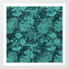 Burgundy Turquoise Velvet Floral Pattern 10 Art Print