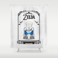 majora Shower Curtains featuring Zelda legend - Blue potion  by Art & Be
