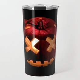 Photograph of a Scary, Carved Pumpkin Lit from the Inside at Halloween Travel Mug