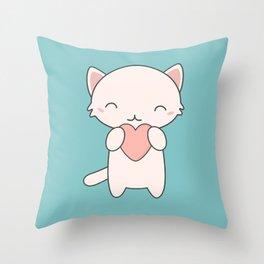 Kawaii Cute Cat With Hearts Throw Pillow