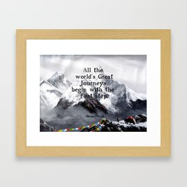 All the world's Great Journeys Motivational Tibetan Proverb With Panoramic View Of Everest Mountain Framed Art Print