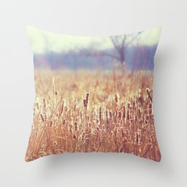 A Glow in the Cattails  Throw Pillow