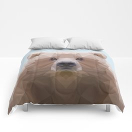 Low poly bear on blue/grey background Comforters