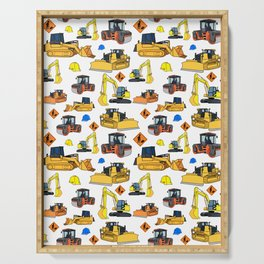 Construction Vehicles Pattern Serving Tray