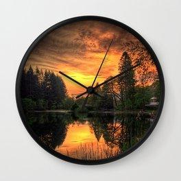 Golden Light On Loch Ard Wall Clock
