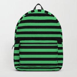Emerald Green and Black Horizontal Stripes Backpack