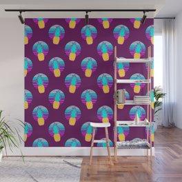Vaporwave pineapples. Maroon background. Wall Mural
