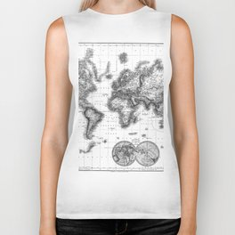 Black and White World Map (1872) Biker Tank